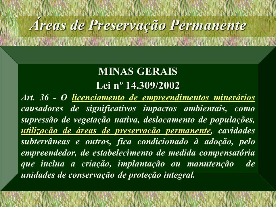 Áreas de Preservação Permanente MINAS GERAIS Lei nº 14.309/2002 utilização de áreas de preservação permanente Art. 36 - O licenciamento de empreendime