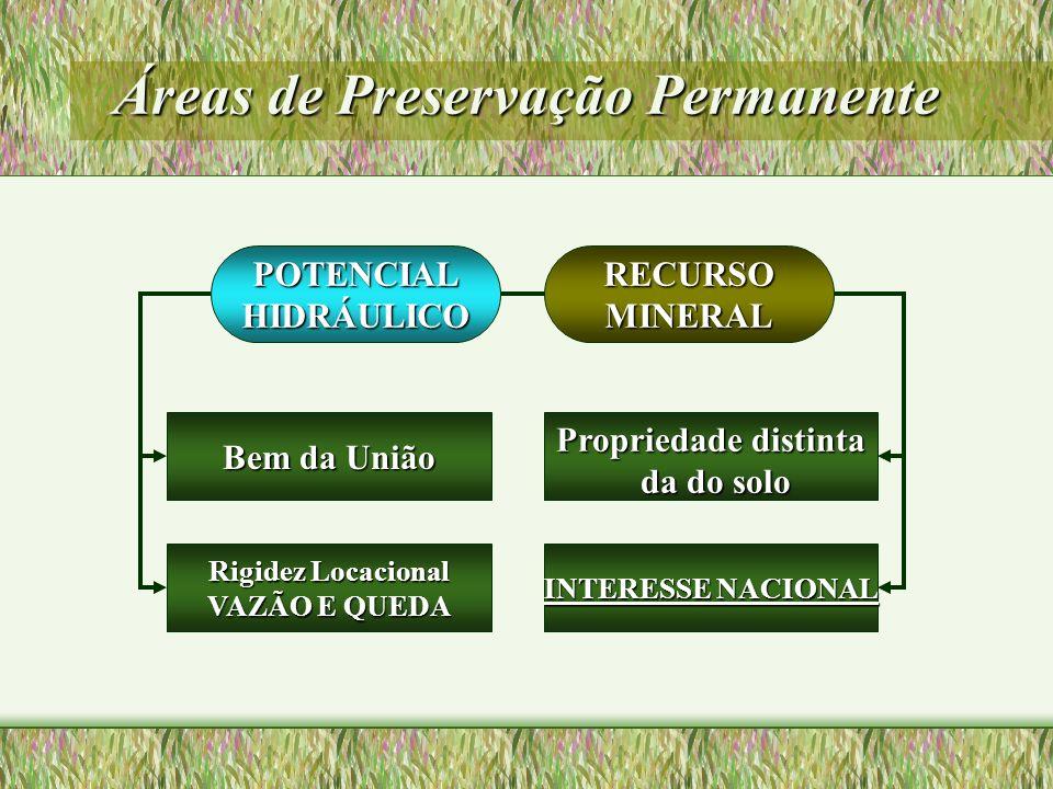 Áreas de Preservação Permanente POTENCIALHIDRÁULICO Bem da União Propriedade distinta da do solo da do solo Rigidez Locacional VAZÃO E QUEDA INTERESSE