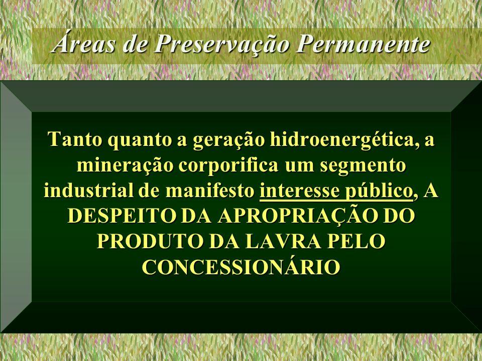 Áreas de Preservação Permanente Tanto quanto a geração hidroenergética, a mineração corporifica um segmento industrial de manifesto interesse público,
