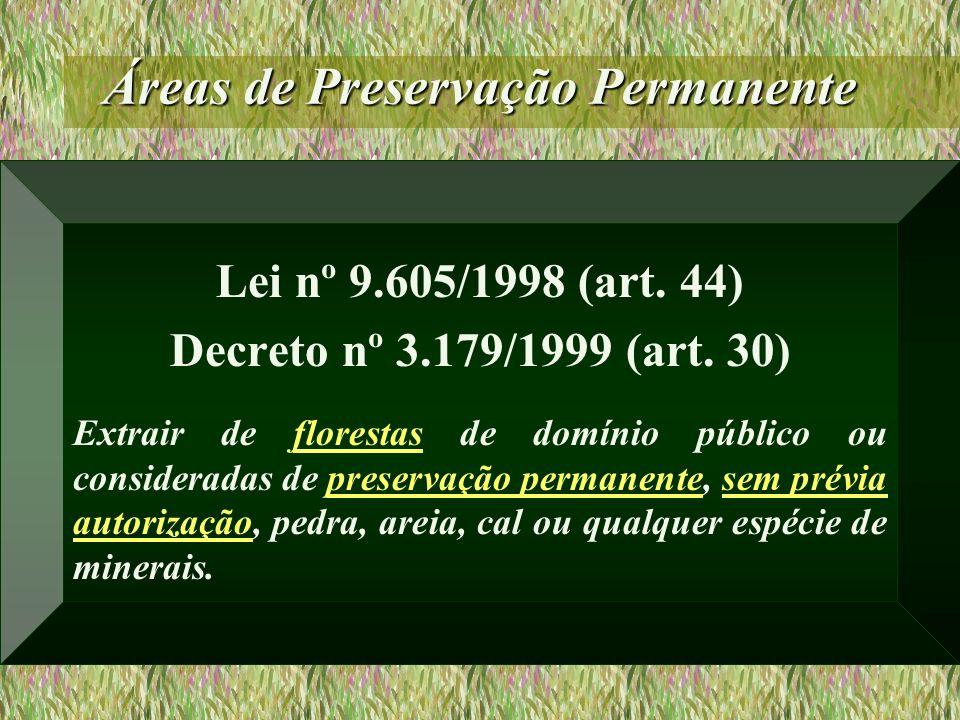 Áreas de Preservação Permanente Lei nº 9.605/1998 (art. 44) Decreto nº 3.179/1999 (art. 30) Extrair de florestas de domínio público ou consideradas de
