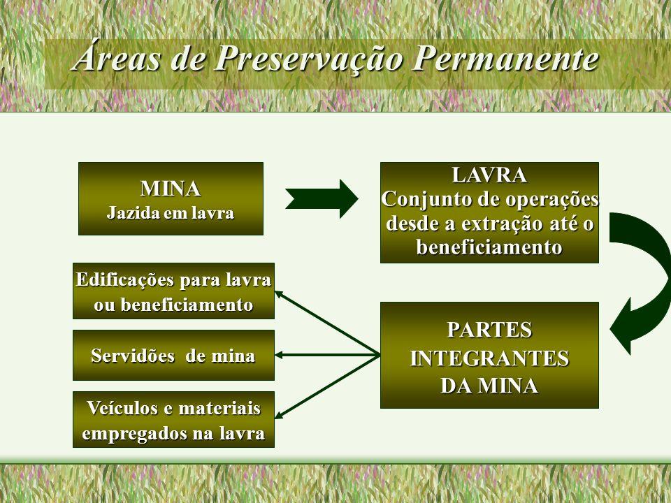 Áreas de Preservação Permanente MINA Jazida em lavra PARTESINTEGRANTES DA MINA LAVRA Conjunto de operações desde a extração até o beneficiamento Edifi