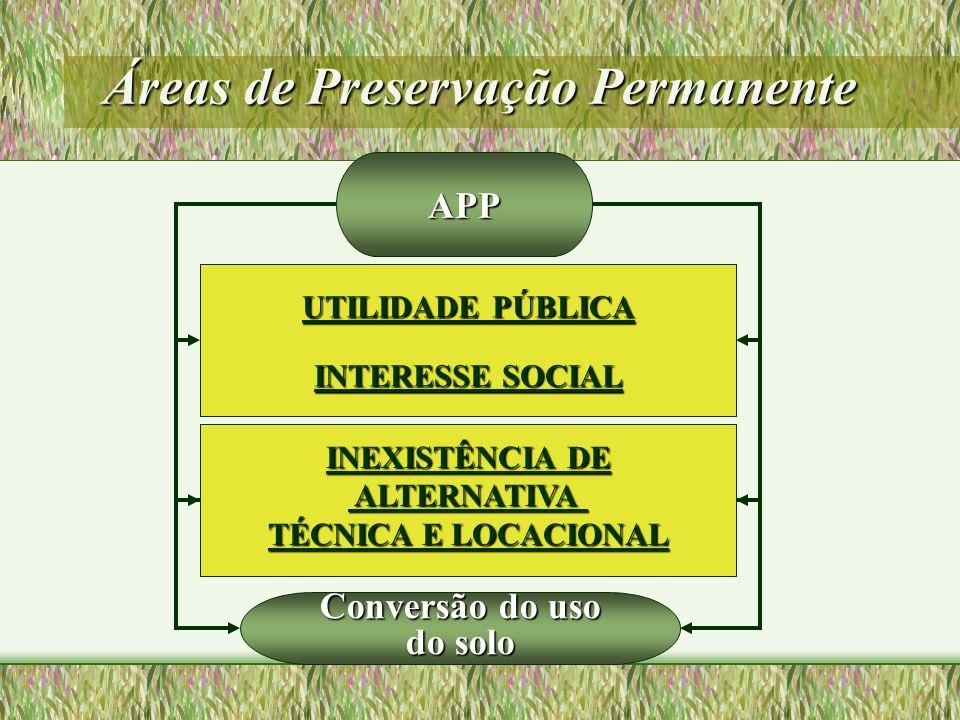 Áreas de Preservação Permanente APP UTILIDADE PÚBLICA INTERESSE SOCIAL INEXISTÊNCIA DE ALTERNATIVA ALTERNATIVA TÉCNICA E LOCACIONAL Conversão do uso d
