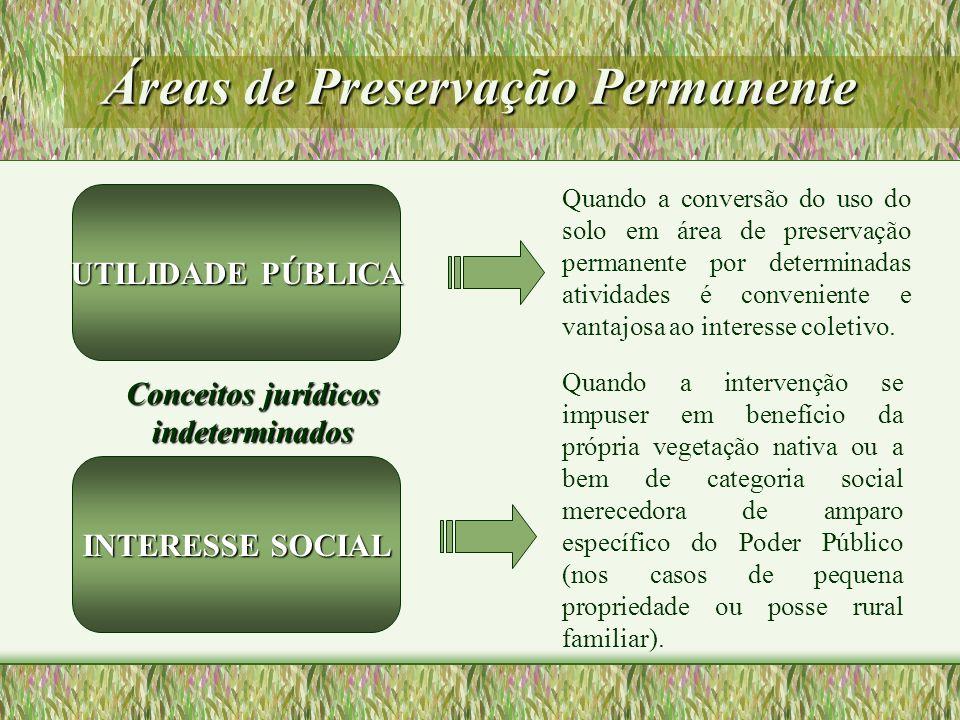Áreas de Preservação Permanente Quando a conversão do uso do solo em área de preservação permanente por determinadas atividades é conveniente e vantaj