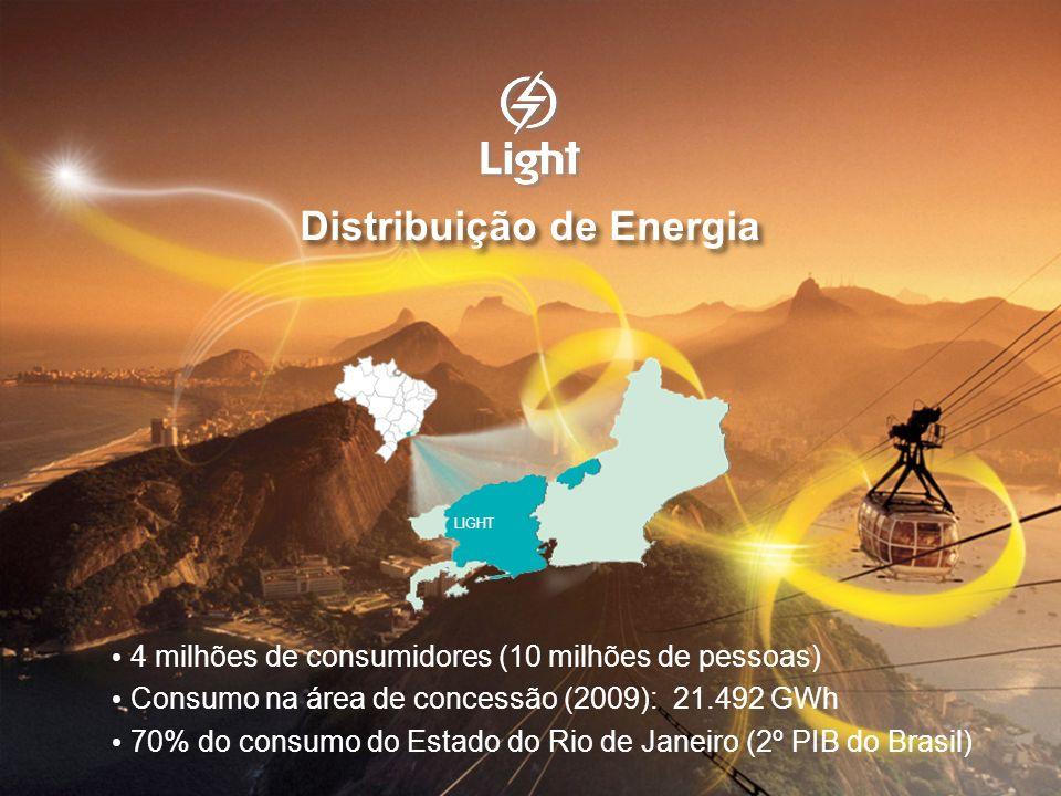 4 milhões de consumidores (10 milhões de pessoas) Consumo na área de concessão (2009): 21.492 GWh 70% do consumo do Estado do Rio de Janeiro (2º PIB d