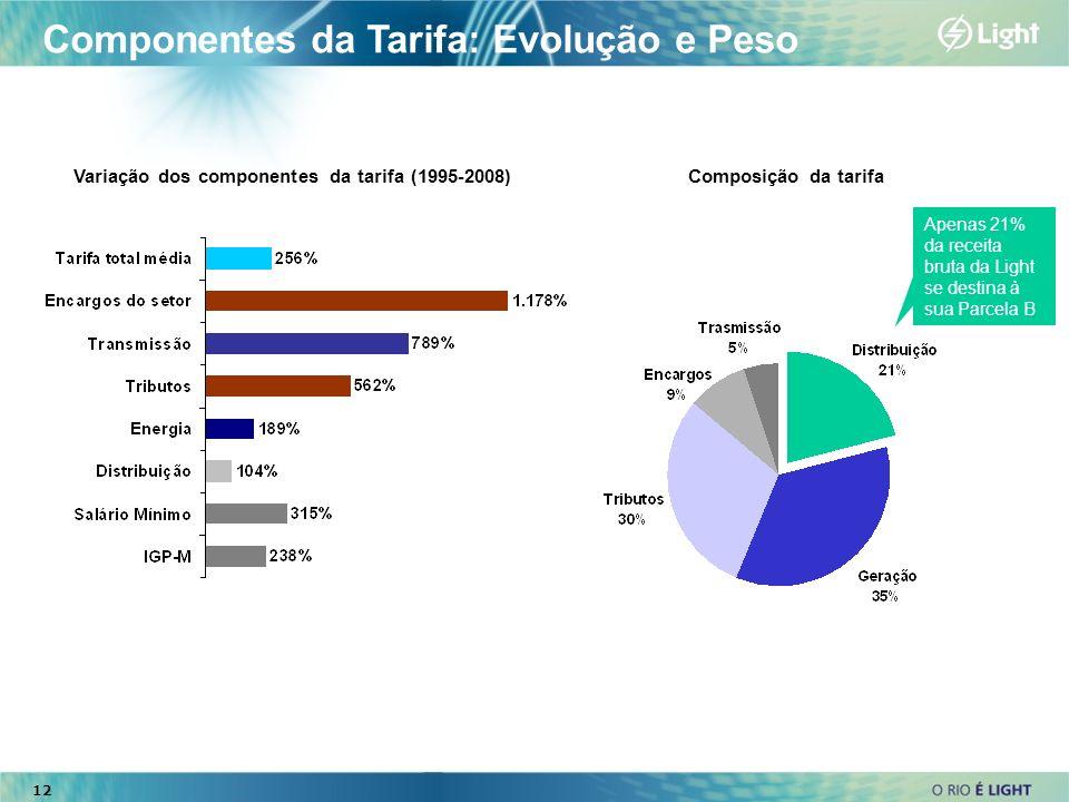 12 Componentes da Tarifa: Evolução e Peso Variação dos componentes da tarifa (1995-2008) Apenas 21% da receita bruta da Light se destina à sua Parcela