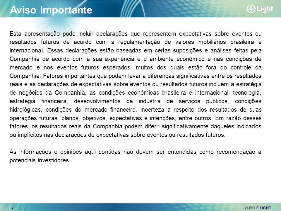2 Aviso Importante Esta apresentação pode incluir declarações que representem expectativas sobre eventos ou resultados futuros de acordo com a regulam