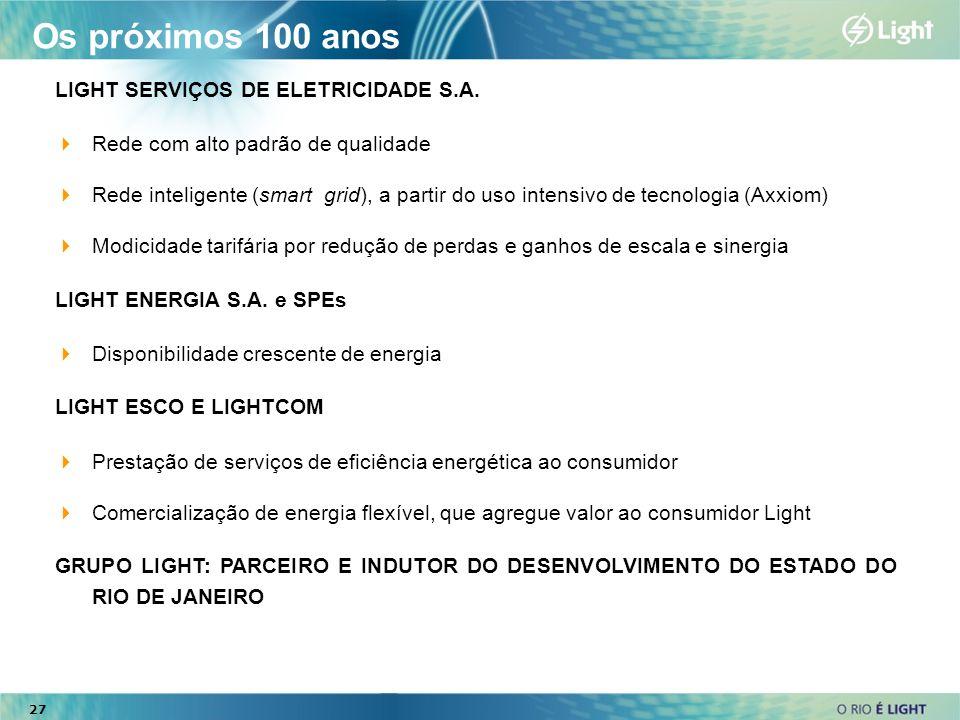 27 LIGHT SERVIÇOS DE ELETRICIDADE S.A. Rede com alto padrão de qualidade Rede inteligente (smart grid), a partir do uso intensivo de tecnologia (Axxio