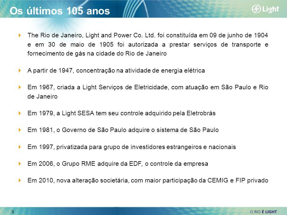 3 The Rio de Janeiro, Light and Power Co. Ltd. foi constituída em 09 de junho de 1904 e em 30 de maio de 1905 foi autorizada a prestar serviços de tra
