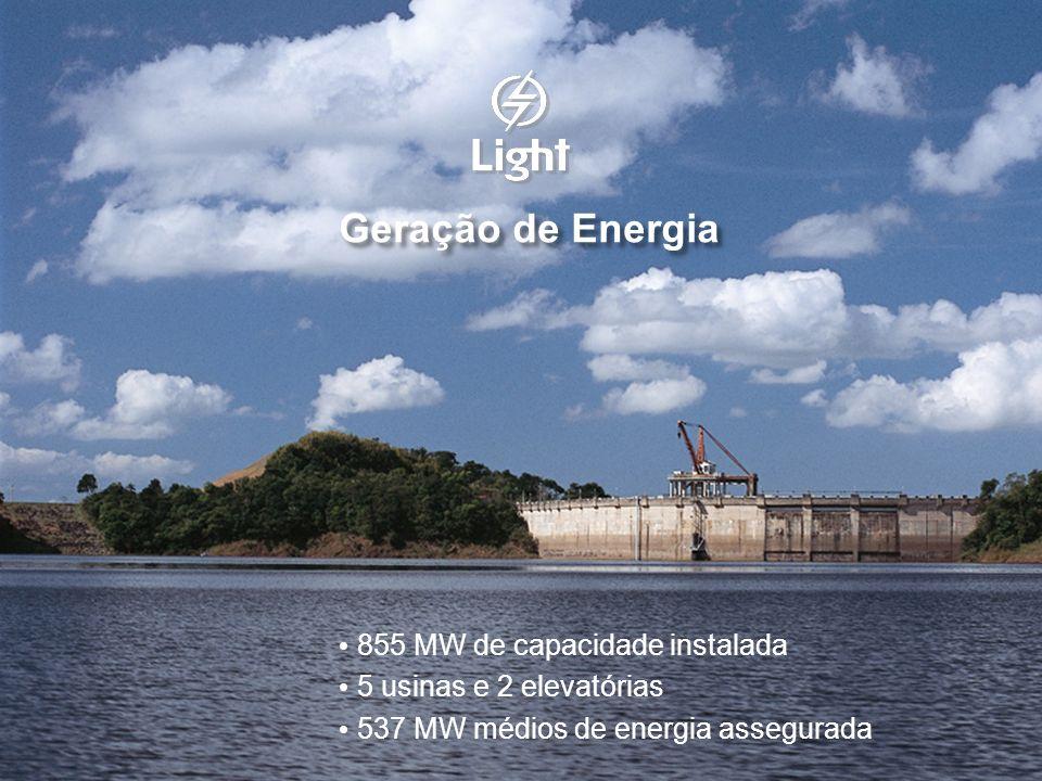 Geração de Energia 855 MW de capacidade instalada 5 usinas e 2 elevatórias 537 MW médios de energia assegurada