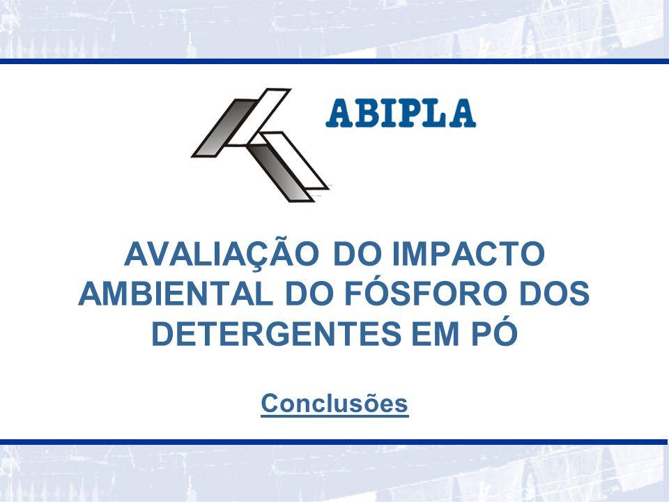 12 Não foram encontrados estudos realizados no Brasil, especificamente, sobre a contribuição do fósforo de detergentes para a eutrofização das águas Existe sobre fósforo em geral.