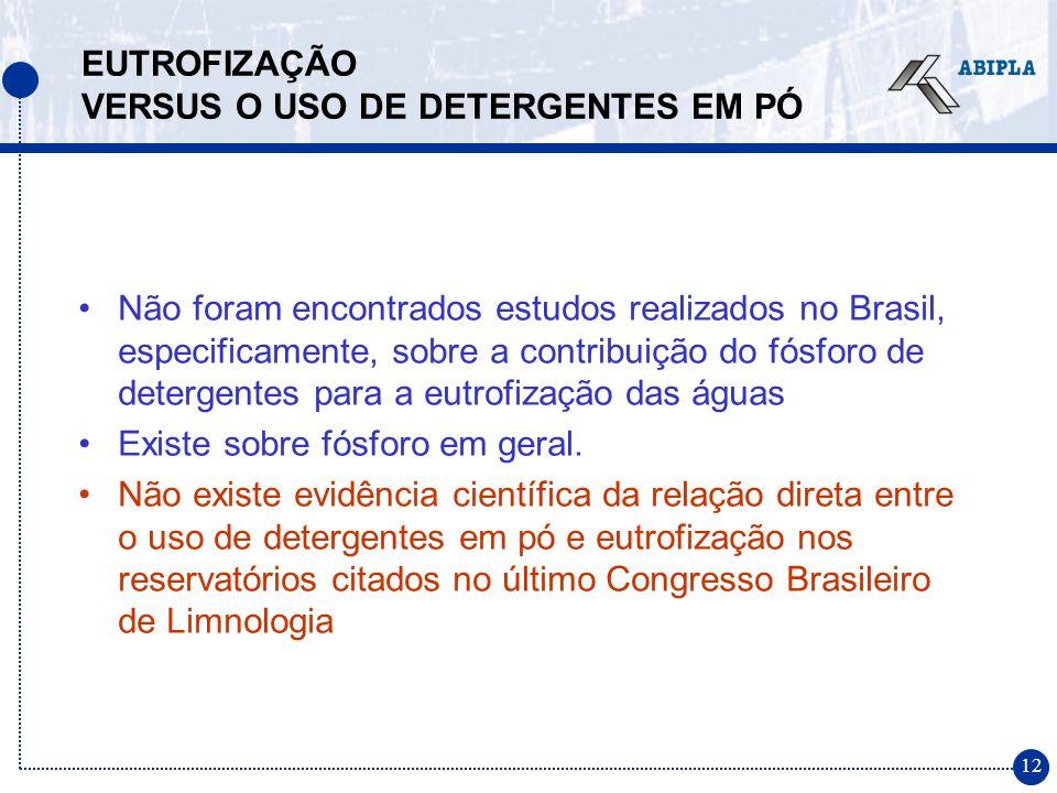 12 Não foram encontrados estudos realizados no Brasil, especificamente, sobre a contribuição do fósforo de detergentes para a eutrofização das águas E