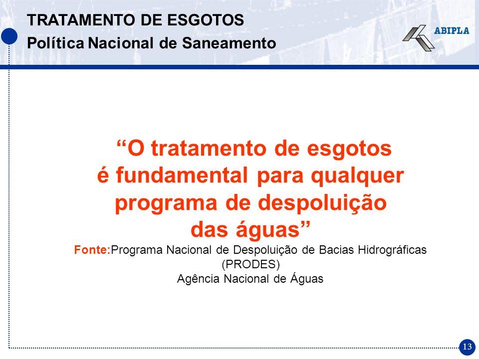 13 O tratamento de esgotos é fundamental para qualquer programa de despoluição das águas Fonte:Programa Nacional de Despoluição de Bacias Hidrográficas (PRODES) Agência Nacional de Águas TRATAMENTO DE ESGOTOS Política Nacional de Saneamento