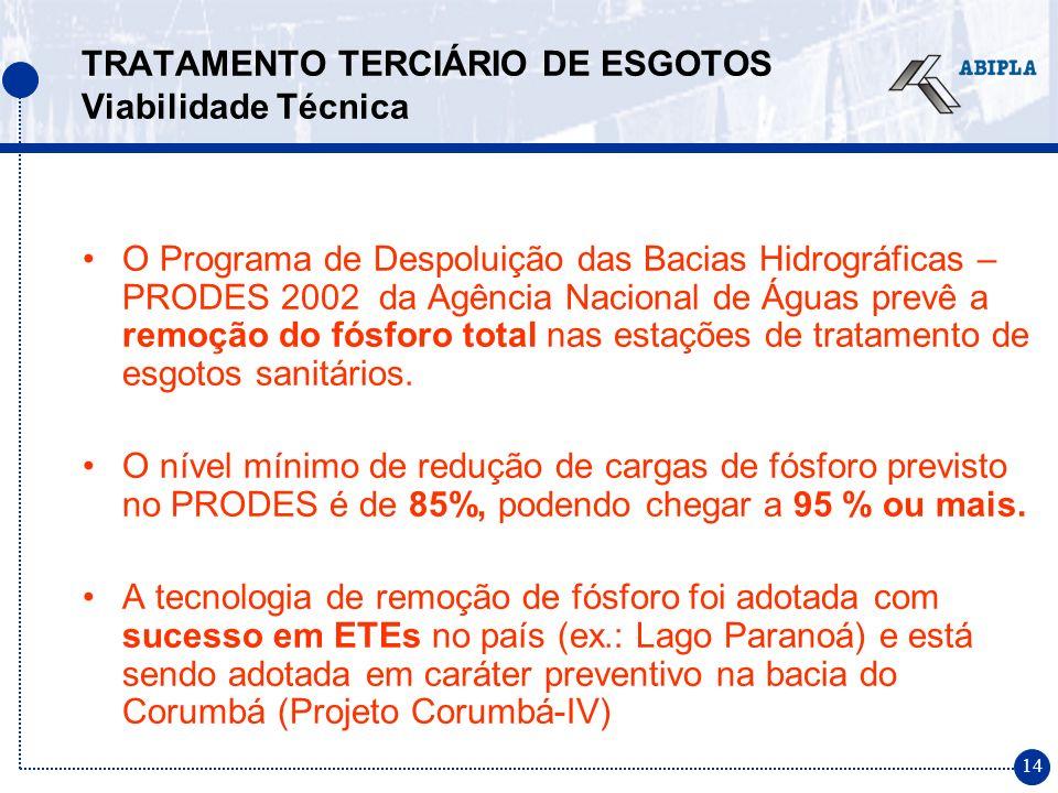 14 TRATAMENTO TERCIÁRIO DE ESGOTOS Viabilidade Técnica O Programa de Despoluição das Bacias Hidrográficas – PRODES 2002 da Agência Nacional de Águas p