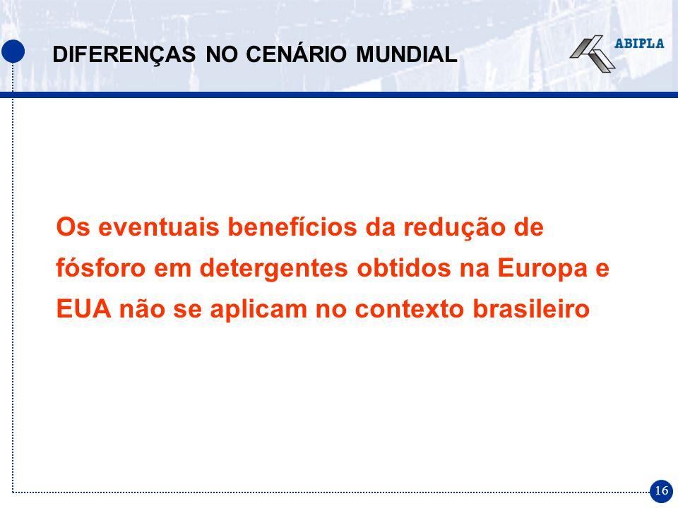 16 Os eventuais benefícios da redução de fósforo em detergentes obtidos na Europa e EUA não se aplicam no contexto brasileiro DIFERENÇAS NO CENÁRIO MUNDIAL