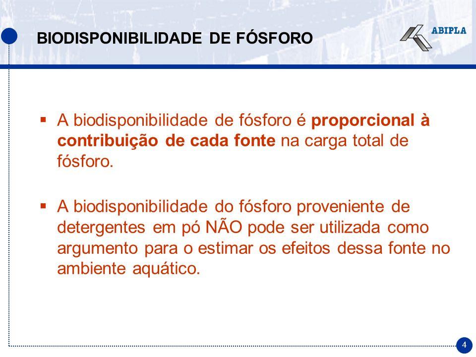 4 A biodisponibilidade de fósforo é proporcional à contribuição de cada fonte na carga total de fósforo. A biodisponibilidade do fósforo proveniente d