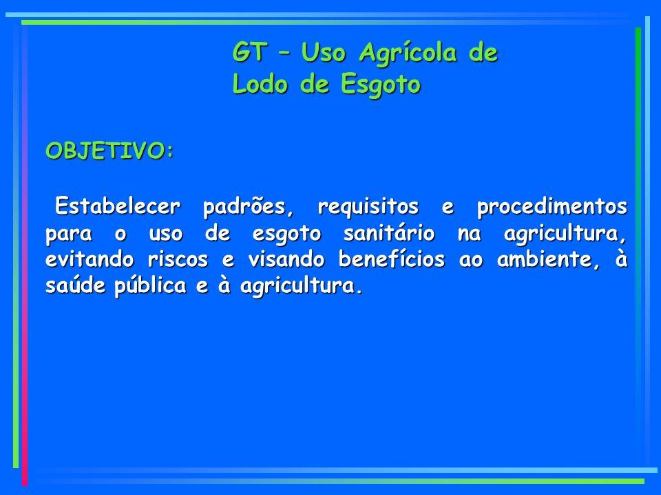 OBJETIVO: Estabelecer padrões, requisitos e procedimentos para o uso de esgoto sanitário na agricultura, evitando riscos e visando benefícios ao ambiente, à saúde pública e à agricultura.