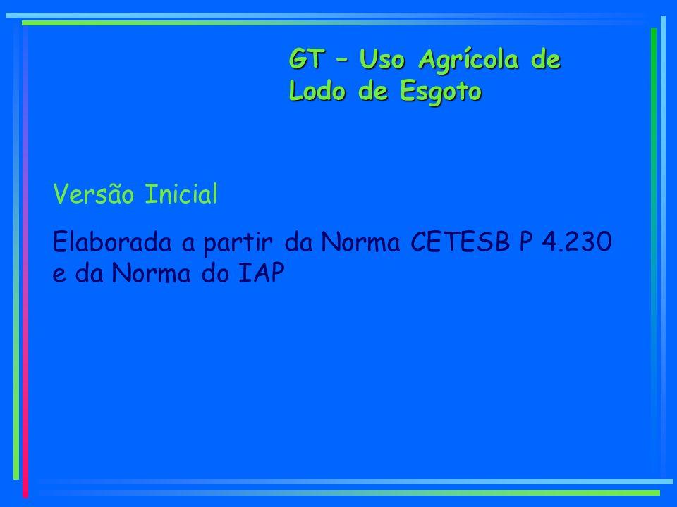 GT – Uso Agrícola de Lodo de Esgoto Versão Inicial Elaborada a partir da Norma CETESB P 4.230 e da Norma do IAP