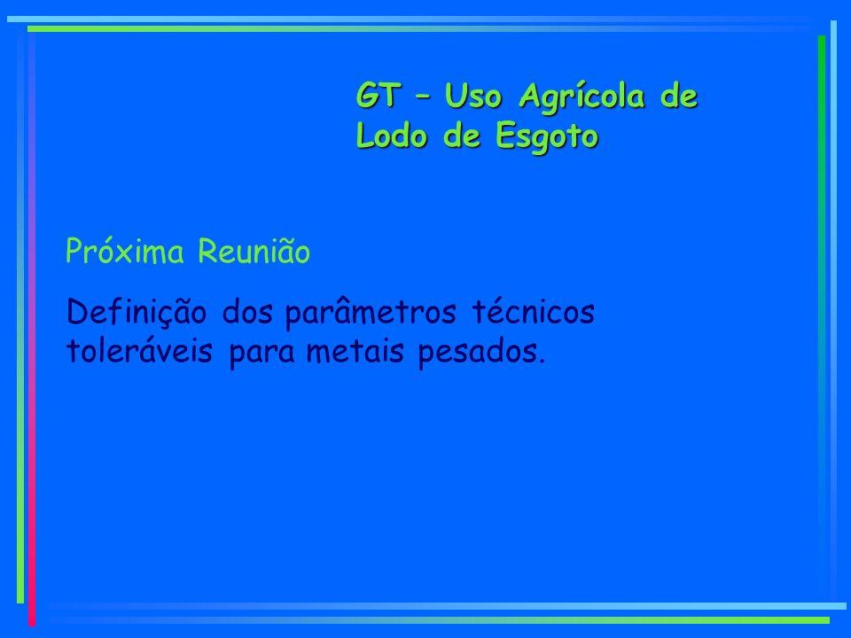 GT – Uso Agrícola de Lodo de Esgoto Próxima Reunião Definição dos parâmetros técnicos toleráveis para metais pesados.