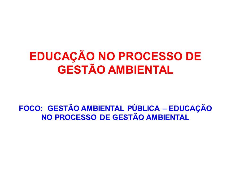 EDUCAÇÃO NO PROCESSO DE GESTÃO AMBIENTAL DESAFIOS ESTIMULAR/APOIAR A AMBIENTALIZAÇÃO DE ÓRGÃOS EXECUTORES DE POLÍTICAS PÚBLICAS QUE SE ESTRUTURAM COM BASE NO USO SUSTENTÁVEL DE RECURSOS AMBIENTAIS E/OU DESENVOLVEM ATIVIDADES PASSÍVEIS DE LICENCIAMENTO FEDERAL (MINISTÉRIO DE SEGURANÇA ALIMENTAR, TRANSPORTES, ELETROBRAS, PETROBRAS, DNOCS, INCRA, CHESF, EMATERs, ANVISA ETC );