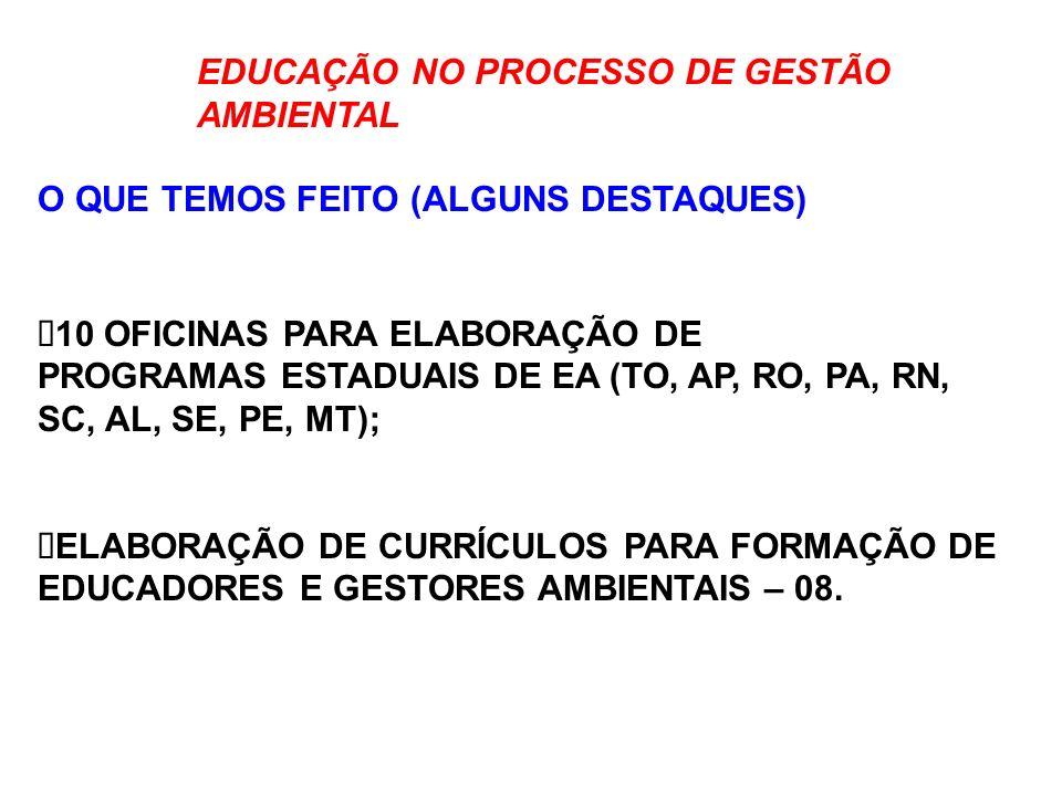 EDUCAÇÃO NO PROCESSO DE GESTÃO AMBIENTAL O QUE TEMOS FEITO (ALGUNS DESTAQUES) 10 OFICINAS PARA ELABORAÇÃO DE PROGRAMAS ESTADUAIS DE EA (TO, AP, RO, PA