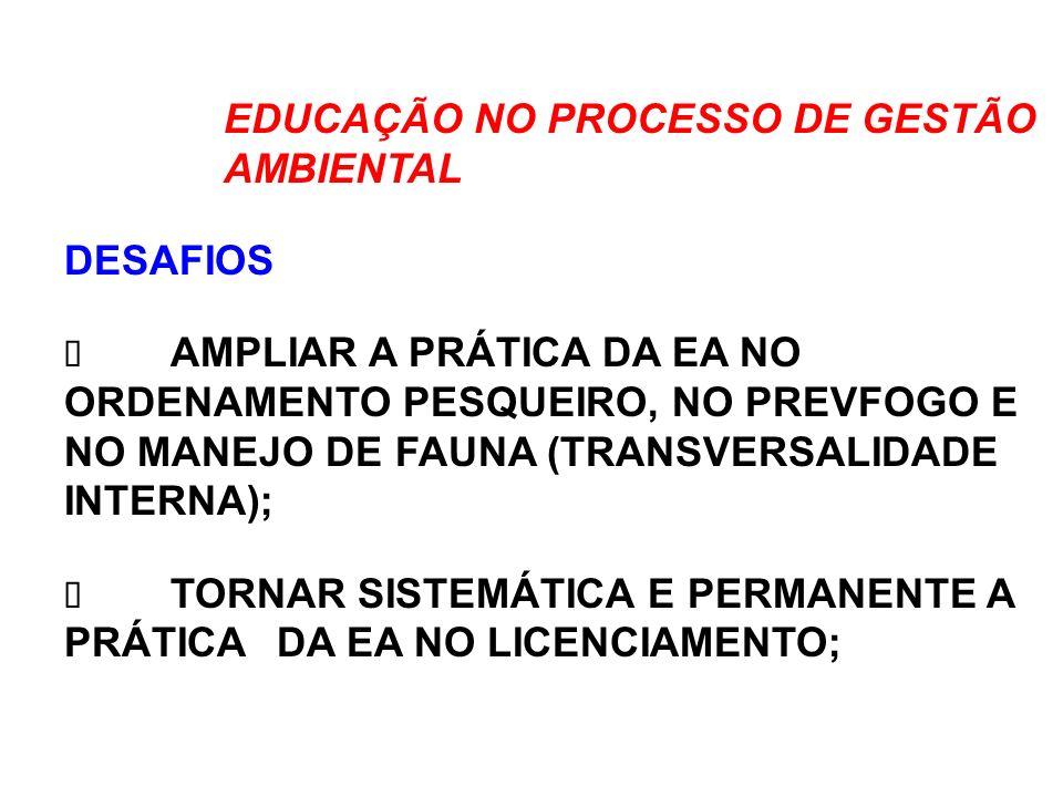 EDUCAÇÃO NO PROCESSO DE GESTÃO AMBIENTAL DESAFIOS AMPLIAR A PRÁTICA DA EA NO ORDENAMENTO PESQUEIRO, NO PREVFOGO E NO MANEJO DE FAUNA (TRANSVERSALIDADE