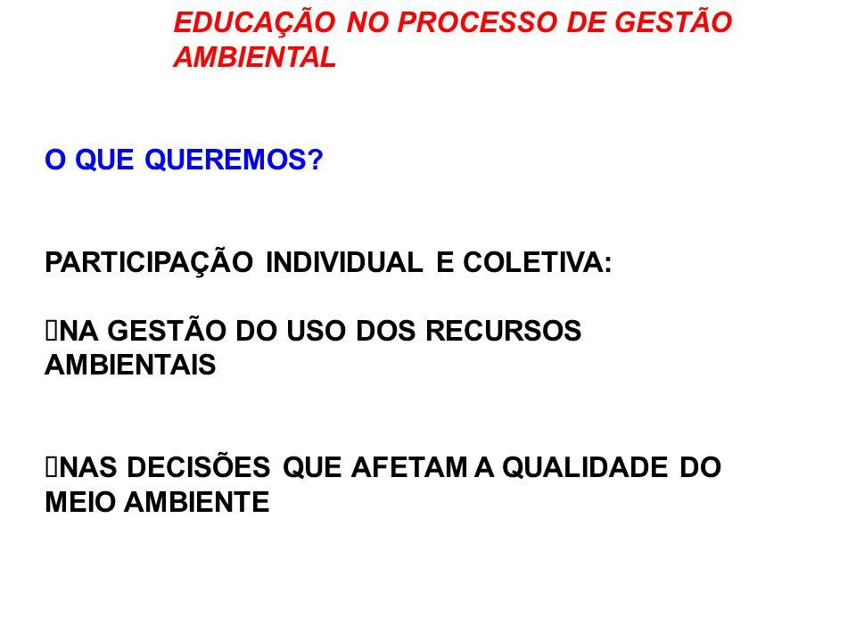 EDUCAÇÃO NO PROCESSO DE GESTÃO AMBIENTAL QUAL O PONTO DE PARTIDA.