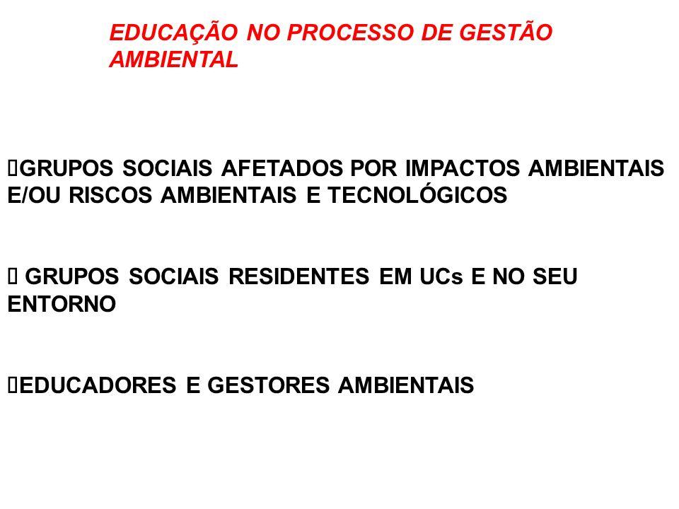 EDUCAÇÃO NO PROCESSO DE GESTÃO AMBIENTAL TÉCNICOS DE ÓRGÃOS EXECUTORES DE POLÍTICAS PÚBLICAS TÉCNICOS DE ENTIDADES PÚBLICAS E DA SOCIEDADE CIVIL CUJA ATUAÇÃO SE RELACIONA COM A QUESTÃO AMBIENTAL.