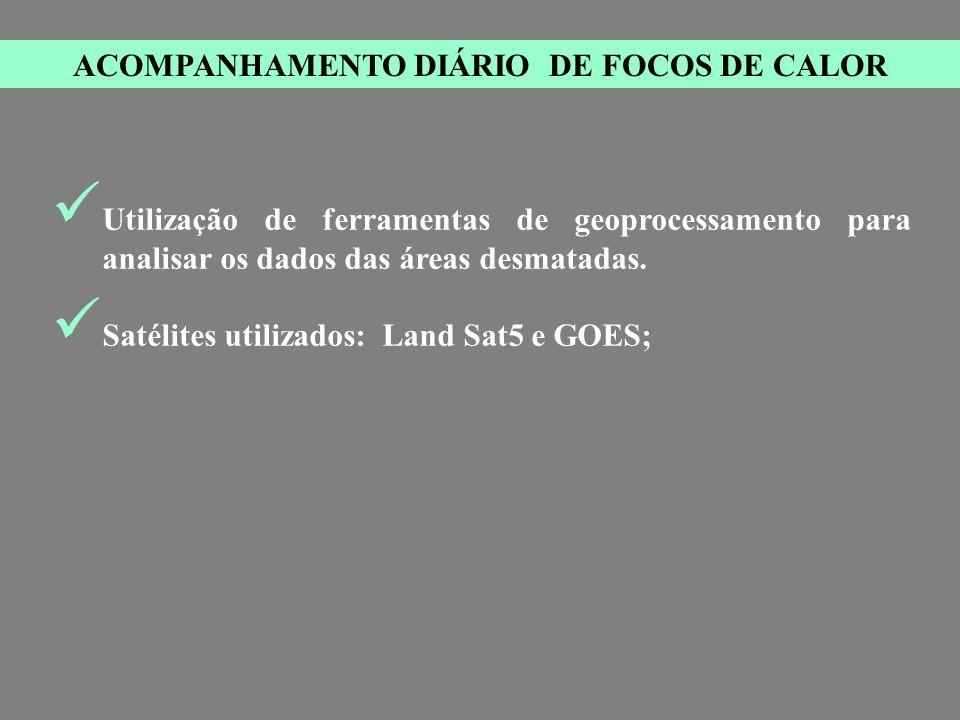ACOMPANHAMENTO DIÁRIO DE FOCOS DE CALOR Utilização de ferramentas de geoprocessamento para analisar os dados das áreas desmatadas.