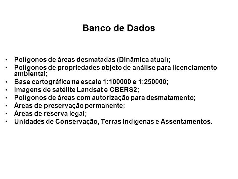 Banco de Dados Polígonos de áreas desmatadas (Dinâmica atual); Polígonos de propriedades objeto de análise para licenciamento ambiental; Base cartográ