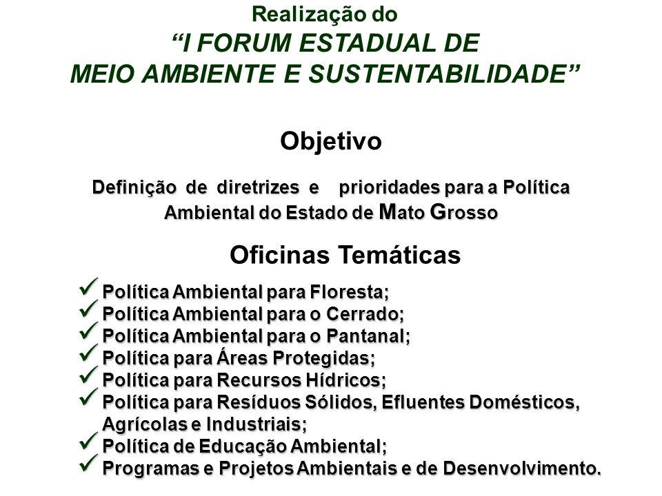 Realização do I FORUM ESTADUAL DE MEIO AMBIENTE E SUSTENTABILIDADE Objetivo Definição de diretrizes e prioridades para a Política Ambiental do Estado