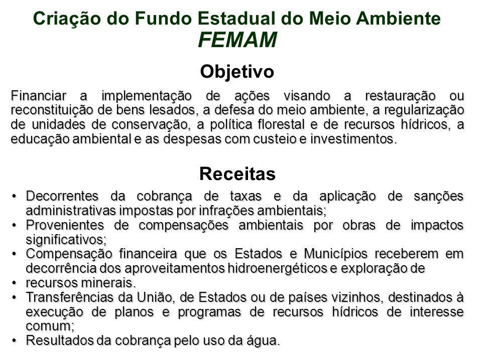 Criação do Fundo Estadual do Meio Ambiente FEMAM Objetivo Financiar a implementação de ações visando a restauração ou reconstituição de bens lesados,