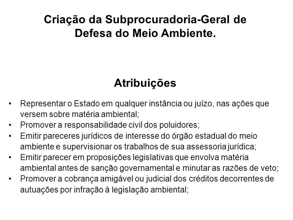 Criação da Subprocuradoria-Geral de Defesa do Meio Ambiente. Atribuições Representar o Estado em qualquer instância ou juízo, nas ações que versem sob
