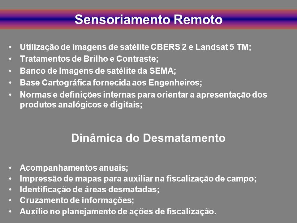 Sensoriamento Remoto Utilização de imagens de satélite CBERS 2 e Landsat 5 TM; Tratamentos de Brilho e Contraste; Banco de Imagens de satélite da SEMA