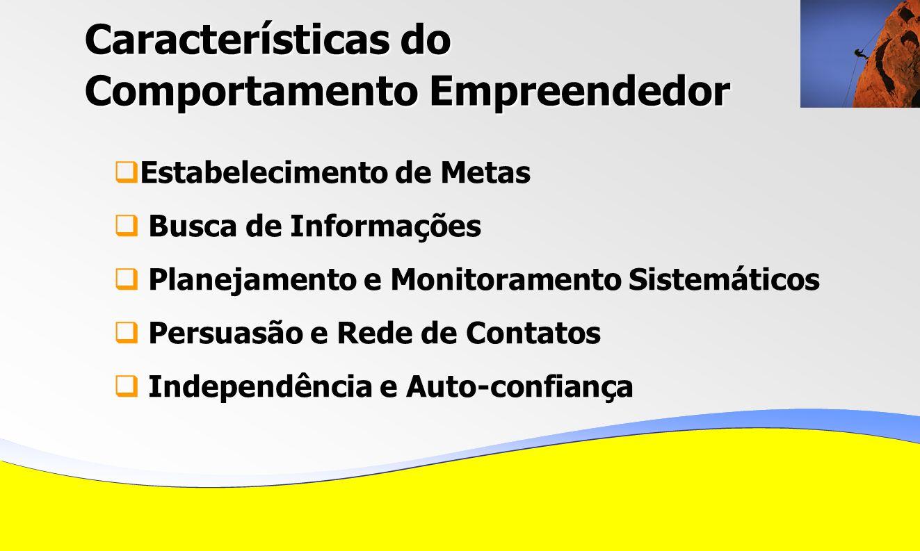 Características do Comportamento Empreendedor Estabelecimento de Metas Busca de Informações Planejamento e Monitoramento Sistemáticos Persuasão e Rede de Contatos Independência e Auto-confiança