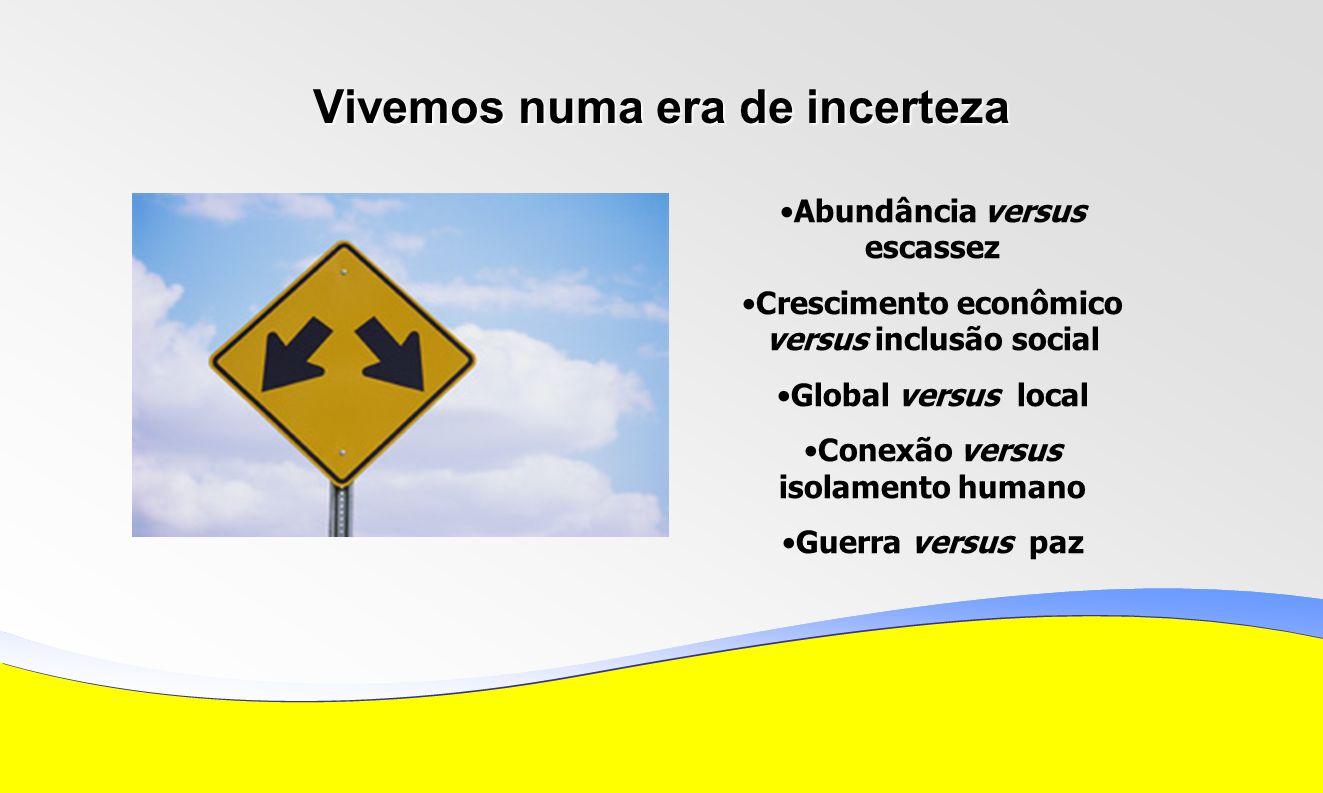 Vivemos numa era de incerteza Abundância versus escassez Crescimento econômico versus inclusão social Global versus local Conexão versus isolamento humano Guerra versus paz