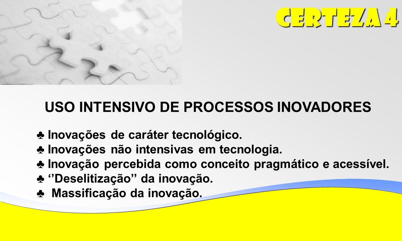 Certeza 4 USO INTENSIVO DE PROCESSOS INOVADORES Inovações de caráter tecnológico.