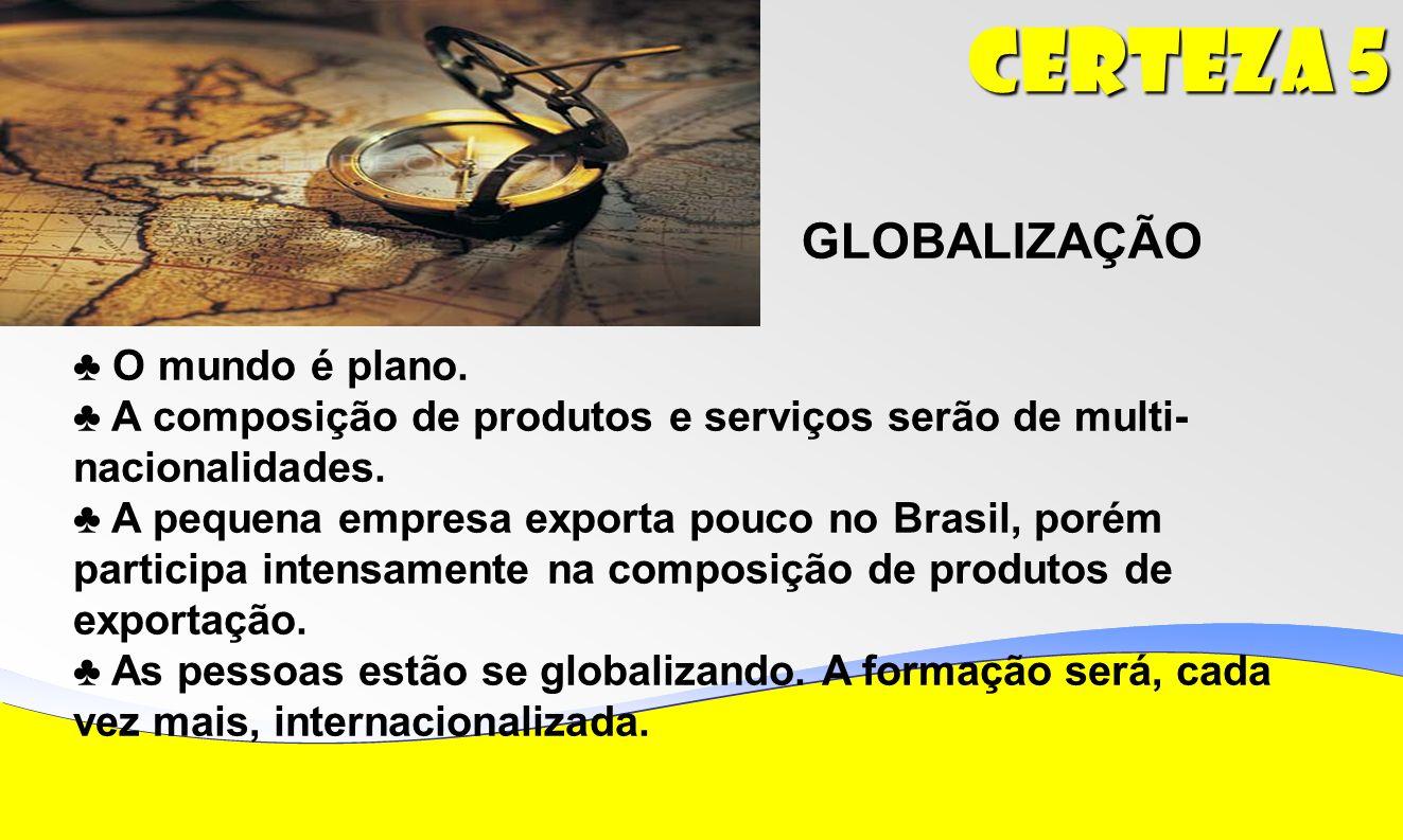 Certeza 5 GLOBALIZAÇÃO O mundo é plano.