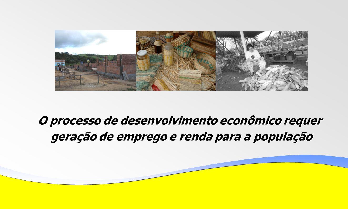 O processo de desenvolvimento econômico requer geração de emprego e renda para a população geração de emprego e renda para a população