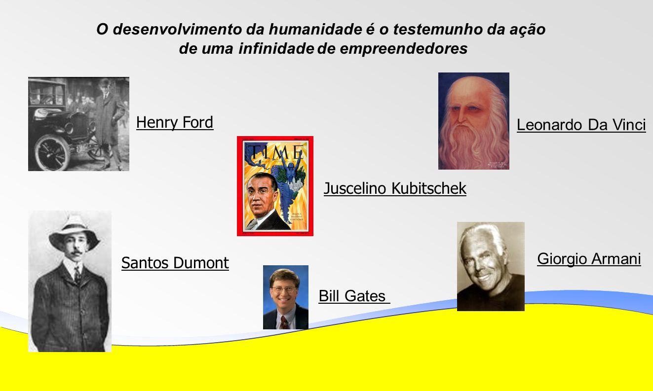 Henry Ford Bill Gates Giorgio Armani Santos Dumont Leonardo Da Vinci Juscelino Kubitschek O desenvolvimento da humanidade é o testemunho da ação de uma infinidade de empreendedores