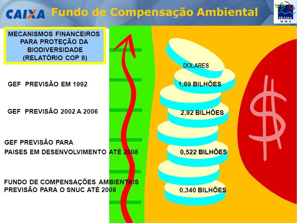 Fundo de Compensação Ambiental MECANISMOS FINANCEIROS PARA PROTEÇÃO DA BIODIVERSIDADE (RELATÓRIO COP 8) GEF PREVISÃO EM 1992 GEF PREVISÃO 2002 A 2006 GEF PREVISÃO PARA PAISES EM DESENVOLVIMENTO ATÉ 2008 1,89 BILHÕES 2,92 BILHÕES 0,522 BILHÕES FUNDO DE COMPENSAÇÕES AMBIENTAIS PREVISÃO PARA O SNUC ATÉ 2008 0,340 BILHÕES DOLARES