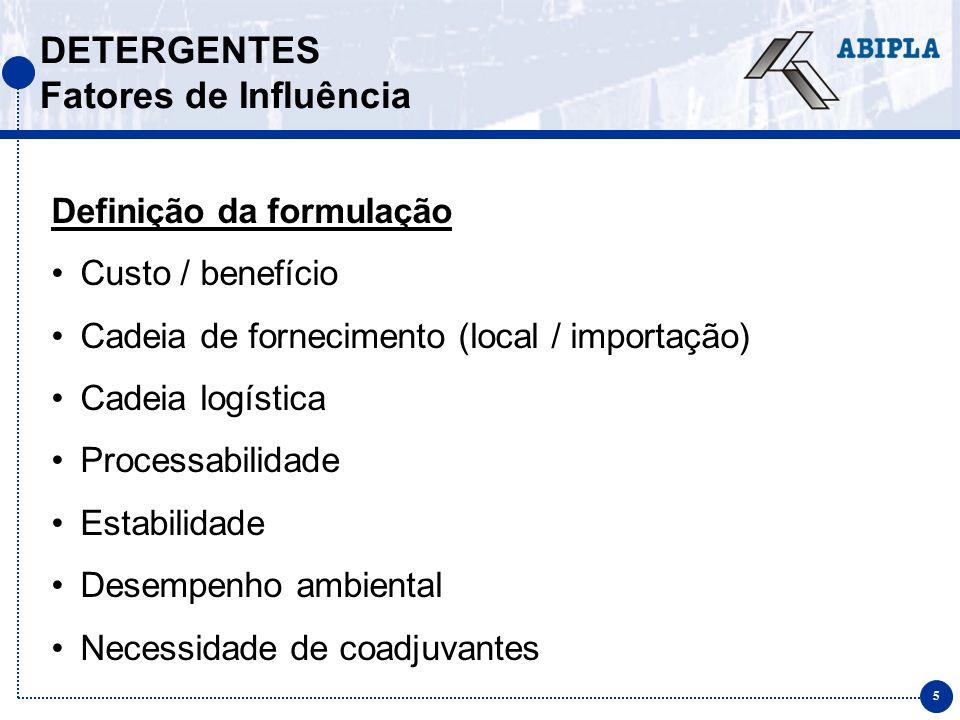 5 DETERGENTES Fatores de Influência Definição da formulação Custo / benefício Cadeia de fornecimento (local / importação) Cadeia logística Processabil