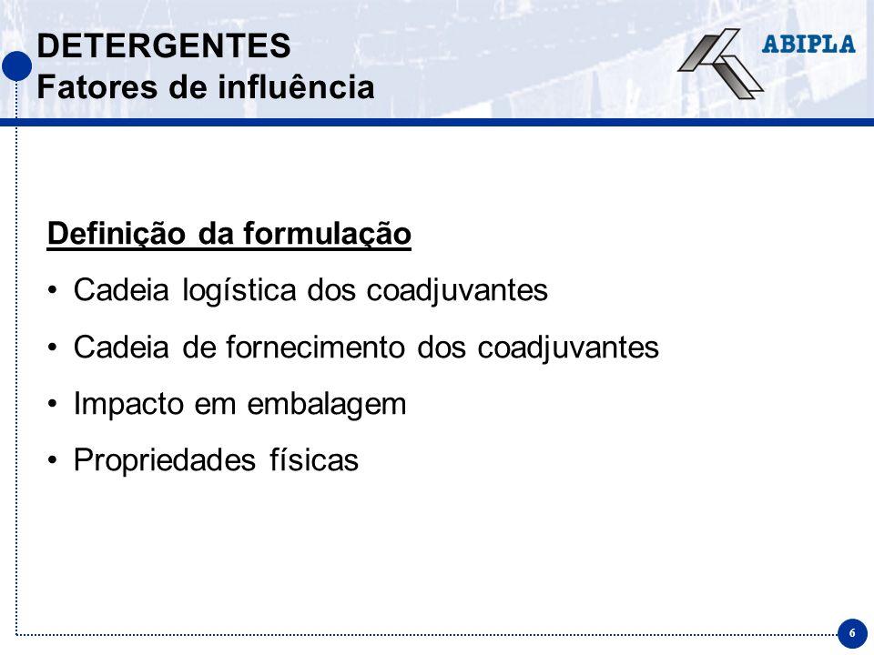 6 DETERGENTES Fatores de influência Definição da formulação Cadeia logística dos coadjuvantes Cadeia de fornecimento dos coadjuvantes Impacto em embal