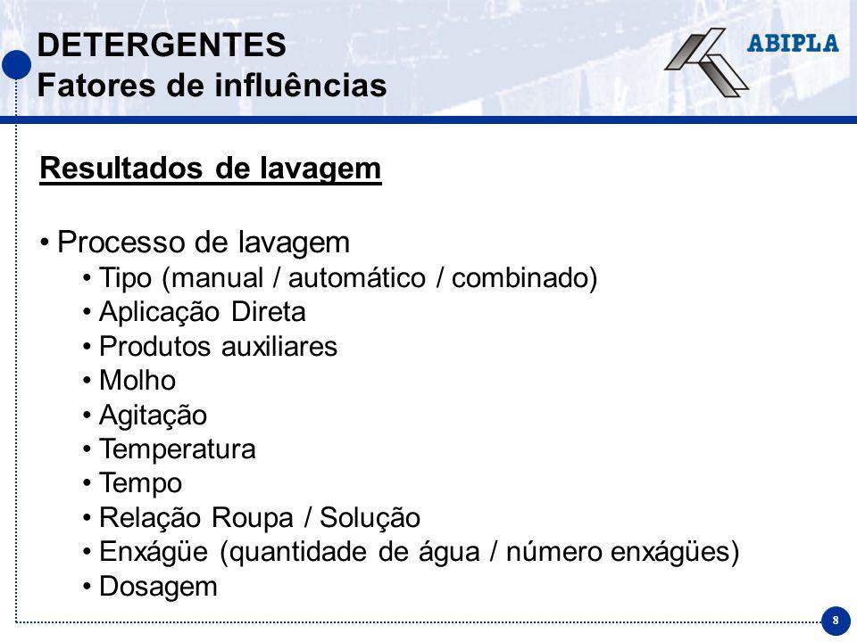 8 DETERGENTES Fatores de influências Resultados de lavagem Processo de lavagem Tipo (manual / automático / combinado) Aplicação Direta Produtos auxili