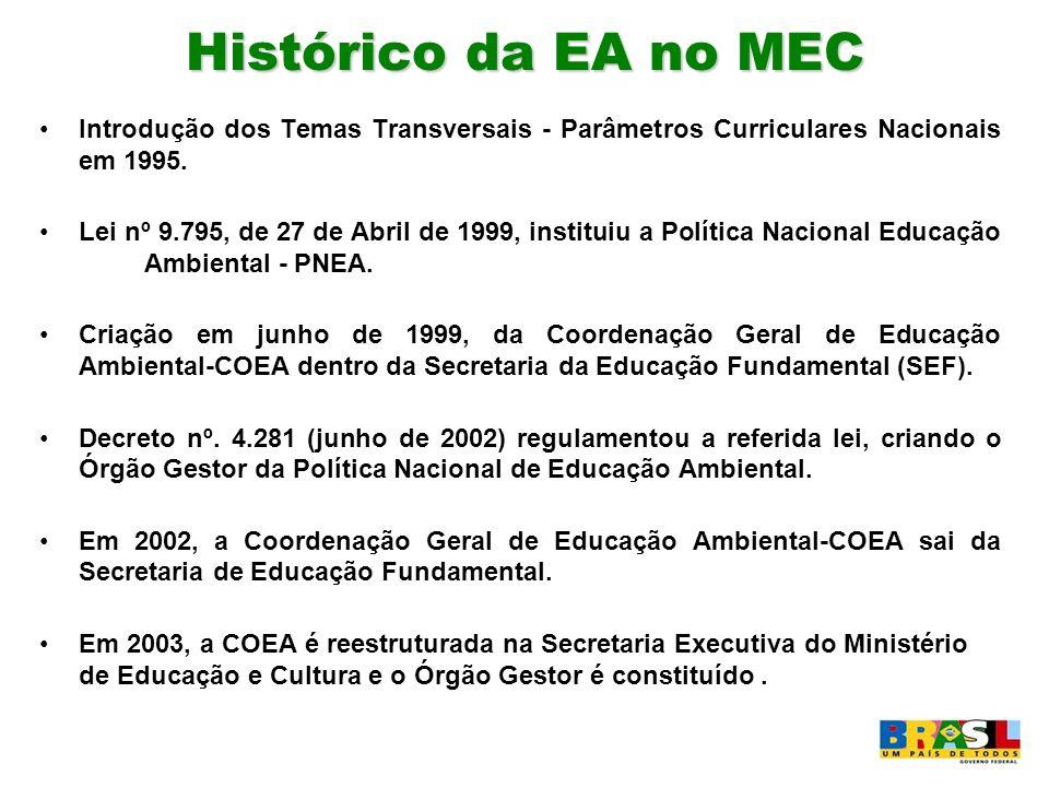 Histórico da EA no MEC Introdução dos Temas Transversais - Parâmetros Curriculares Nacionais em 1995. Lei nº 9.795, de 27 de Abril de 1999, instituiu