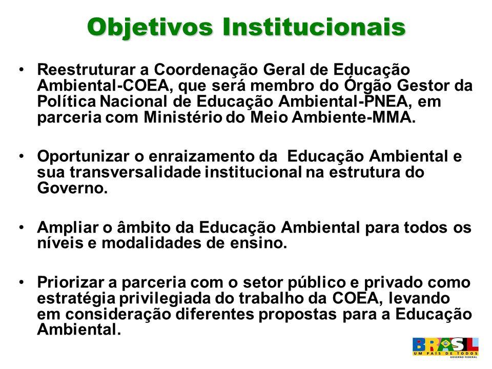 Objetivos Institucionais Reestruturar a Coordenação Geral de Educação Ambiental-COEA, que será membro do Órgão Gestor da Política Nacional de Educação