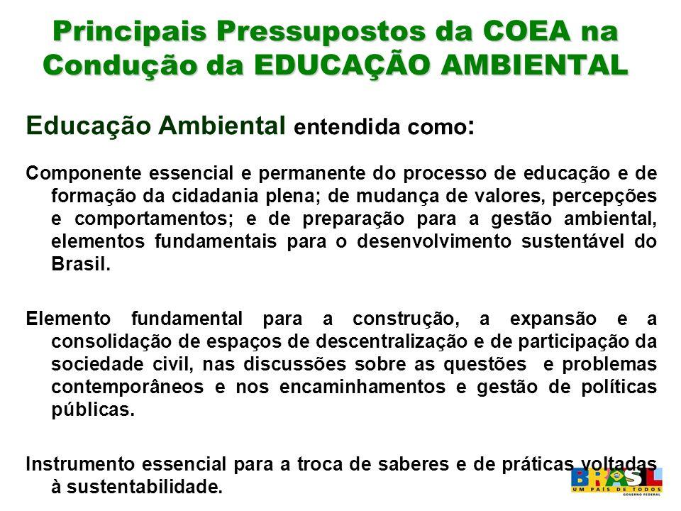 Principais Pressupostos da COEA na Condução da EDUCAÇÃO AMBIENTAL Educação Ambiental entendida como : Componente essencial e permanente do processo de