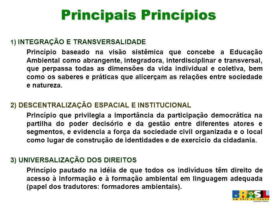 Principais Princípios 1 ) INTEGRAÇÃO E TRANSVERSALIDADE Princípio baseado na visão sistêmica que concebe a Educação Ambiental como abrangente, integra