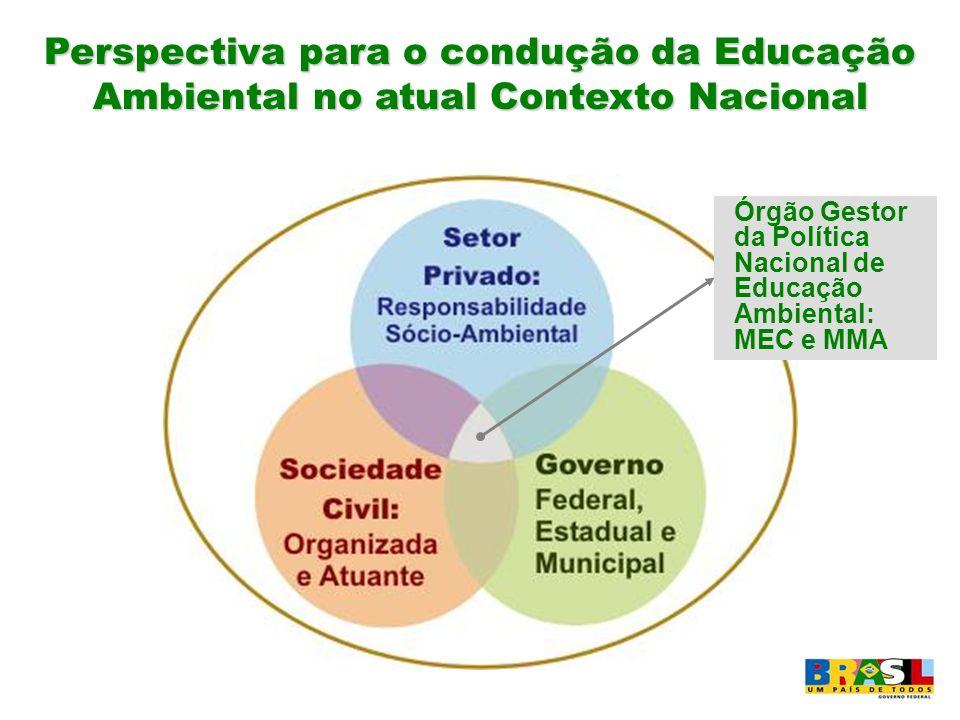 Perspectiva para o condução da Educação Ambiental no atual Contexto Nacional Órgão Gestor da Política Nacional de Educação Ambiental: MEC e MMA
