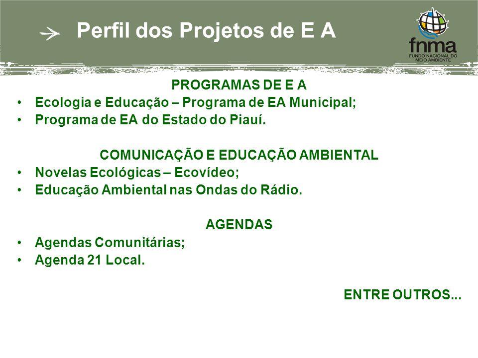 Perfil dos Projetos de E A PROGRAMAS DE E A Ecologia e Educação – Programa de EA Municipal; Programa de EA do Estado do Piauí. COMUNICAÇÃO E EDUCAÇÃO
