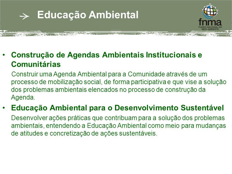 Educação Ambiental Construção de Agendas Ambientais Institucionais e Comunitárias Construir uma Agenda Ambiental para a Comunidade através de um processo de mobilização social, de forma participativa e que vise a solução dos problemas ambientais elencados no processo de construção da Agenda.